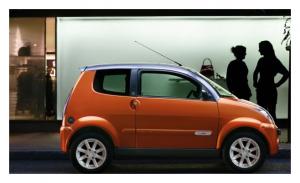 Mini voiture électrique l'e-city de MEGA, marque française
