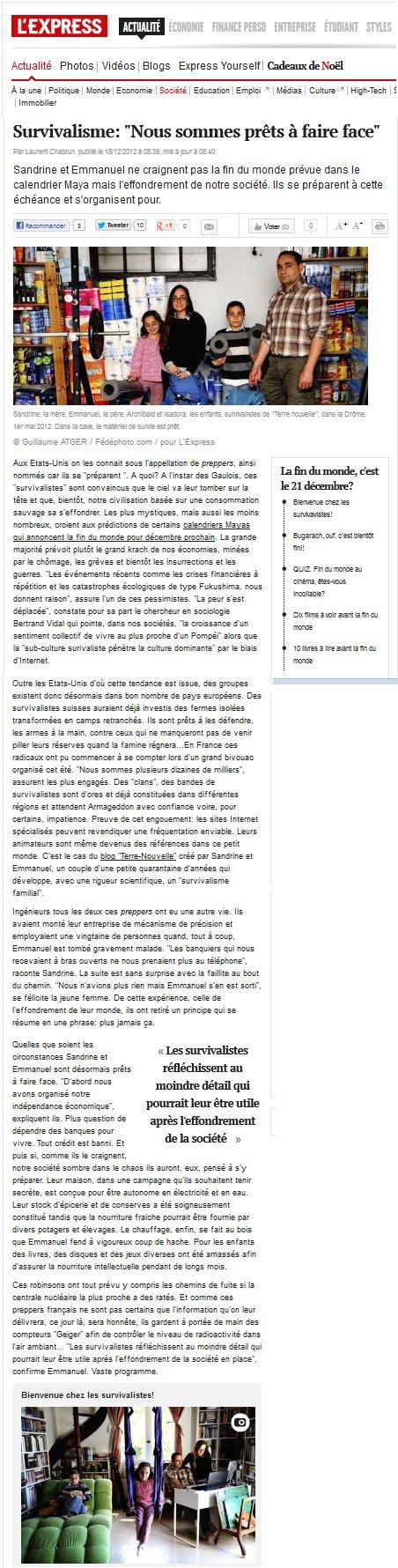 L'Express, 18 décembre 2012, survivalisme, nous sommes prêts à faire face, survivalistes : la famille Terre nouvelle