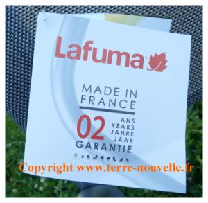 Lafuma : garantie 2 ans sur le mobilier de camping