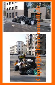 Survivalisme et crise urbaine : photos prises en mars 2012, à Lyon. Une accumulation représentative des ordures en milieu urbain.