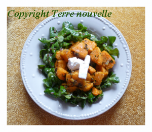 salade de patate douce, curry et échalote