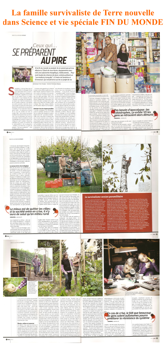 Science et Vie, numéro spéciale FIN DU MONDE, avec 6 pages sur la famille survivaliste de Terre nouvelle