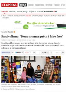 L'Express, décembre 2012, article sur le survivalisme de Terre nouvelle