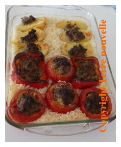 Tomate farcie, poivron farci, pomme de terre farcie